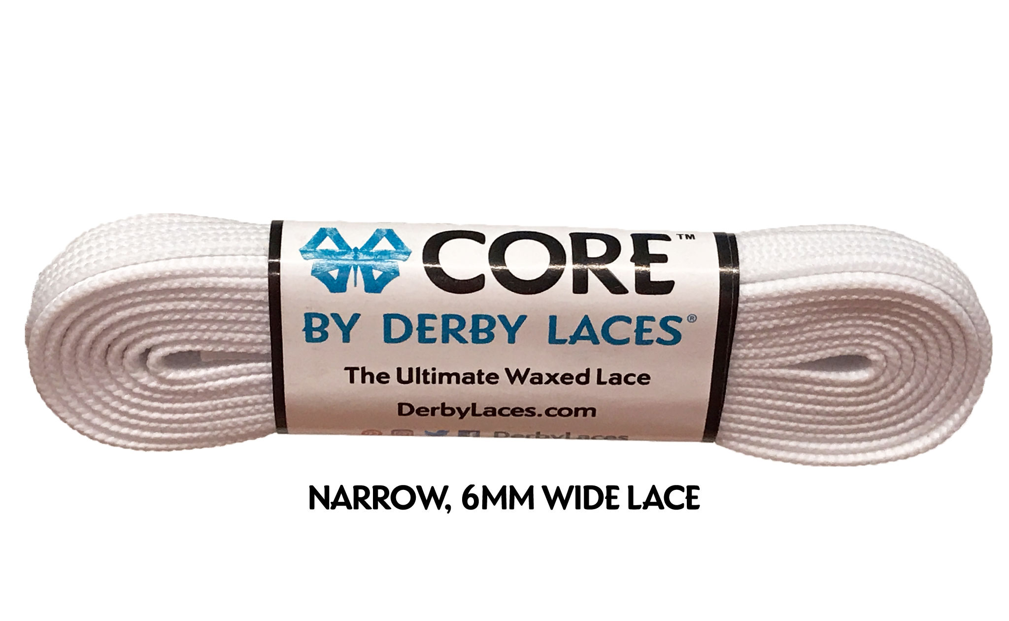 fc3c4a20a104 White 45 inch (114 cm) CORE Shoelace by Derby Laces (NARROW 6MM WIDE ...